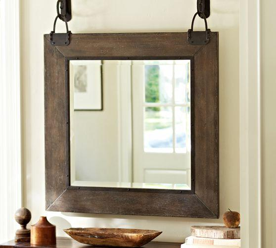 Industrial Faucet Industrial Hanging Wood Frame Mirror