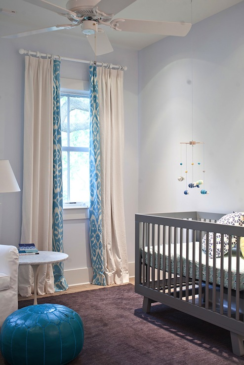 Baby Girl Bedroom Wallpaper Turquoise Ikat Curtains Contemporary Nursery Heather