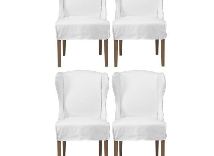 Black Keys Wallpaper Set Of 4 Maddox White Slipcovers Winged Chairs