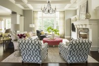 Pink Tufted Ottoman - Transitional - living room ...