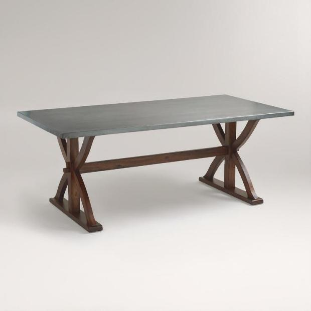 metal top wrapped braxton dining table