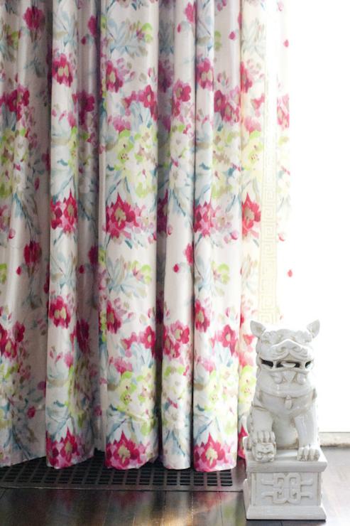 Girl Art Print Wallpaper Floral Curtains Design Ideas