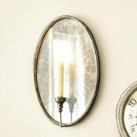 Oval Foxed Mirrored Candle Sconce