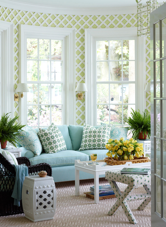 Aqua Sofa - Transitional - living room - Ashley Whittaker ...