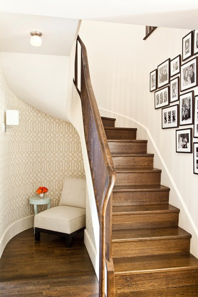 Under The Stairs Reading Nook - Transitional - entrance/foyer - Mona Ross Berman Interiors