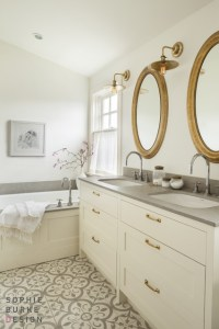 White Vanity with Brass Pulls - Transitional - bathroom ...