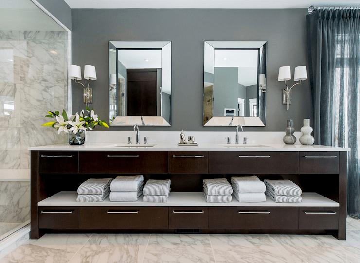 Dark Brown Double Vanity Contemporary Bathroom