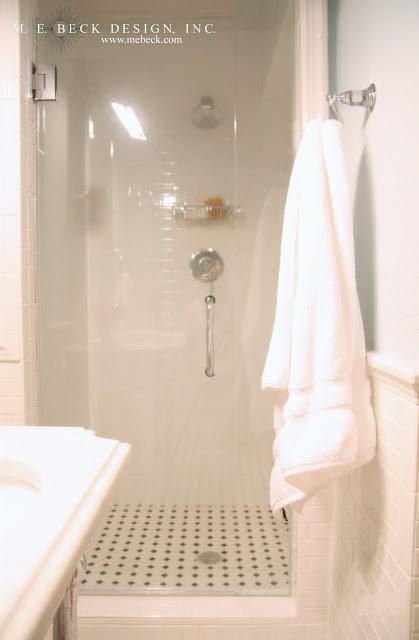 Pin Up Girl Wallpaper Bathroom Octagon And Dot Tiles Transitional Bathroom M E