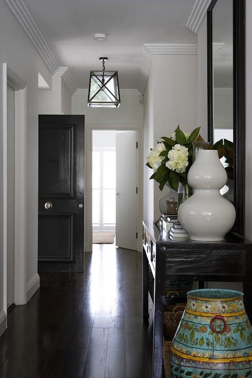 Black And White Wallpaper Decor Long Foyer Transitional Entrance Foyer Denai Kulcsar