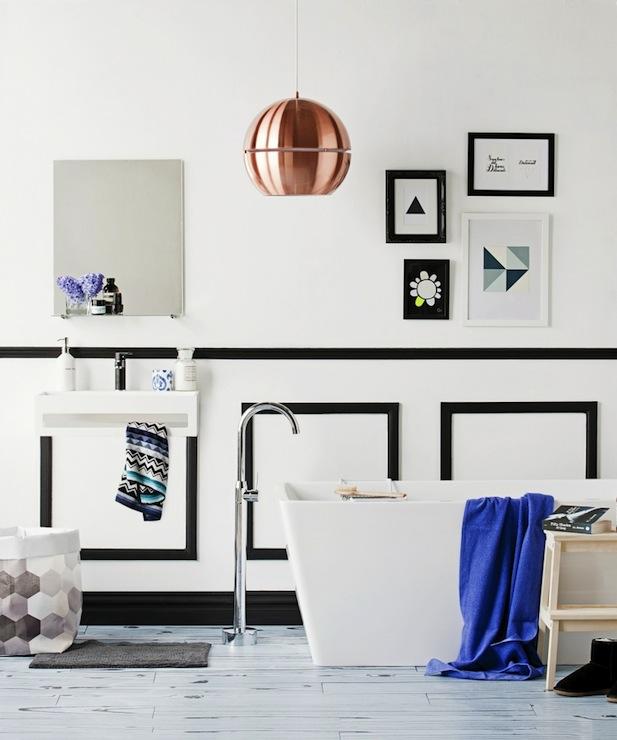 Black White Square Wallpaper Black And White Wainscoting Contemporary Bathroom