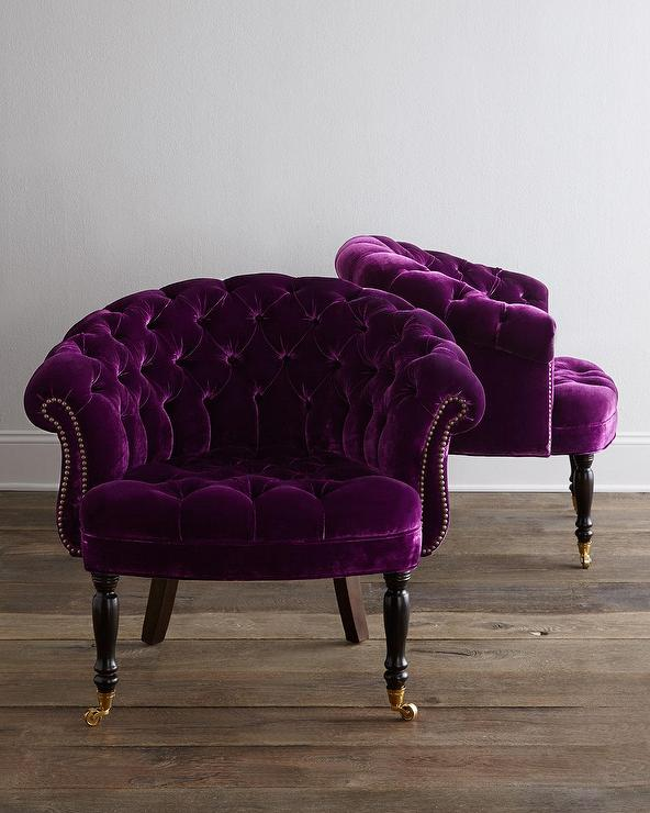 Rich Girl Wallpaper Haute House Sausalito Purple Velvet Tufted Chair