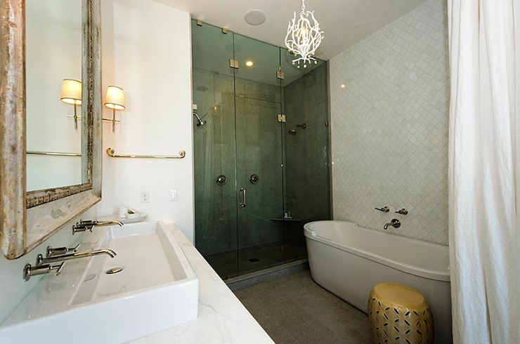 Over The Sink Lighting Arabesque Tile Wall - Transitional - Bathroom - Alys Beach