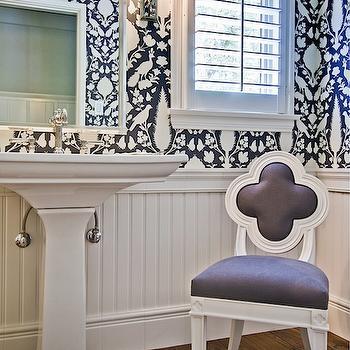 Black Beadboard Wallpaper Bathrooms Schumacher Shantung Silhouette Print Smoke