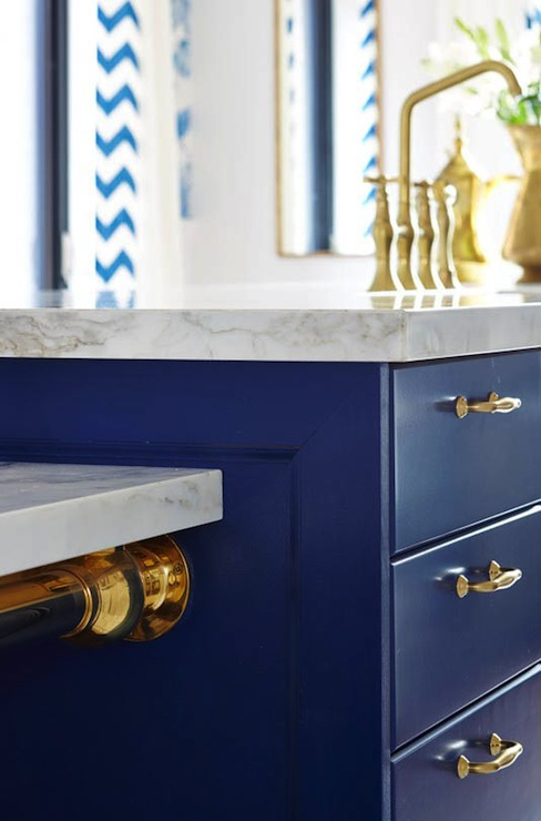 Navy Pin Up Girl Wallpaper Blue Kitchen Island Contemporary Kitchen Ici Dulux