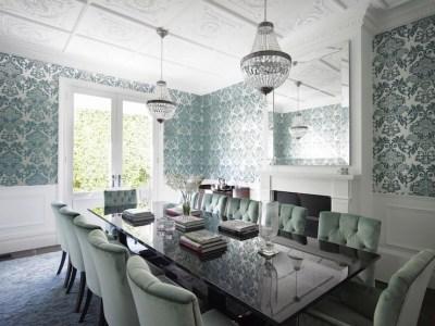 Teal Damask Wallpaper - Transitional - dining room - Denai Kulcsar Interiors