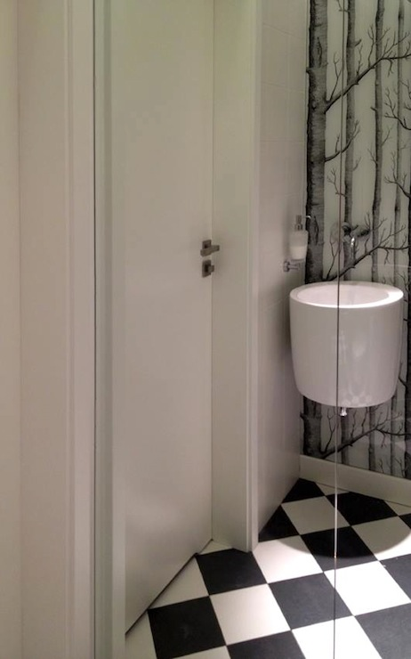 Black And White Marble Wallpaper Wall Mount Sink Design Ideas
