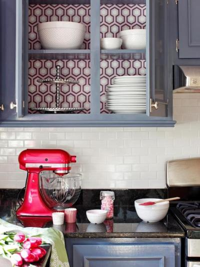 Wallpaper on back of Cabinets - Eclectic - kitchen - DIY Network