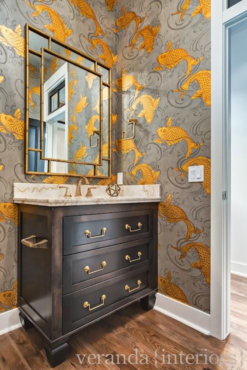 Girl And Marble Wallpaper Koi Fish Wallpaper Transitional Bathroom Veranda