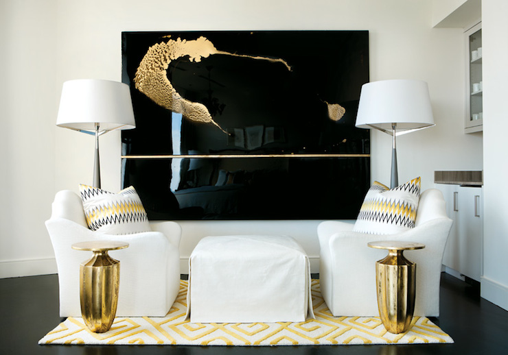 White Black and Yellow Living Room - Transitional - living room - black white and gold living room ideas