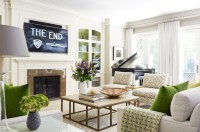 TV over Fireplace - Transitional - living room - Anne ...