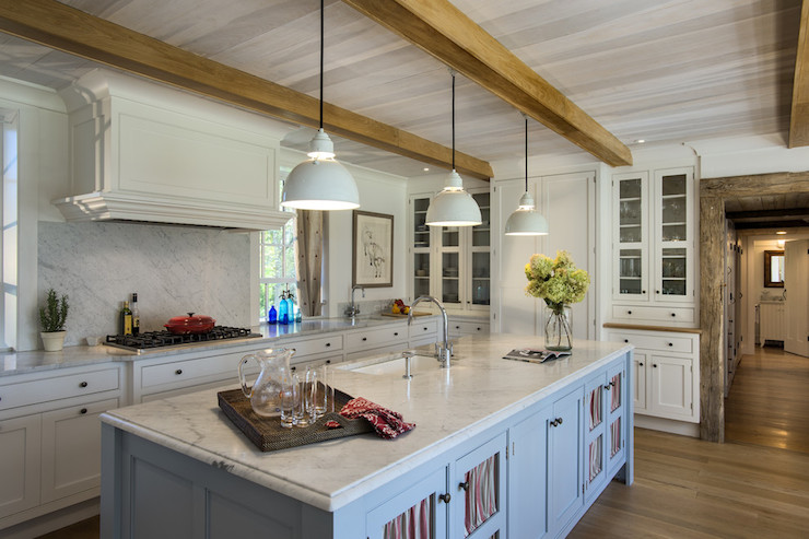 3d Faux Stone Wallpaper Exposed Wood Beams Country Kitchen Crisp Architects