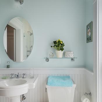 Black Beadboard Wallpaper Glass Shelf Over Sink Traditional Bathroom Elle Decor