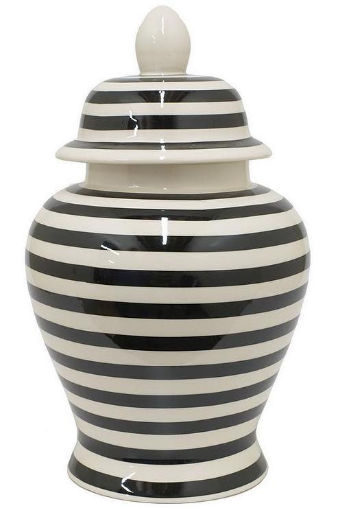 Black And White Striped Wallpaper Striped Black And White Ceramic Temple Jar