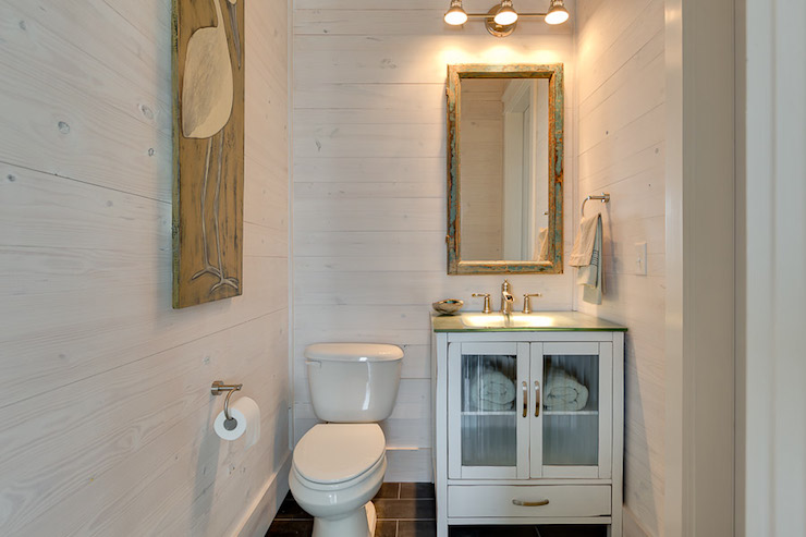 Slate Shower Tile Whitewashed Walls - Cottage - Bathroom - Pat O'neal Interiors