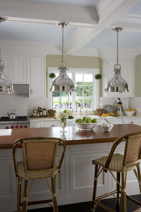 Island Kitchen Lighting Painted Coffered Ceiling - Cottage - Kitchen - Smith River