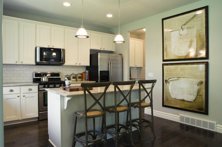 Pictures Of Kitchens With Gray Cabinets Gray Bar Stools - Transitional - Kitchen - Sherwin