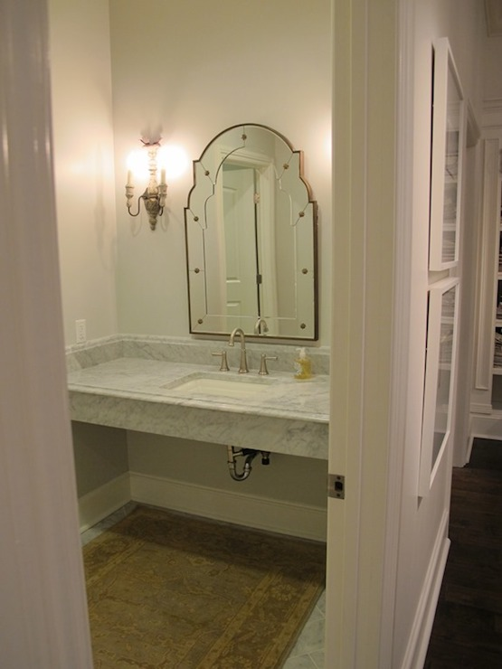 Black White Square Wallpaper Glam Powder Room With Floating Mirrored Vanity