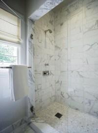White Marble Shower Surround - Transitional - bathroom ...