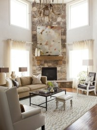 Corner Fireplace - Transitional - living room - Alice Lane ...