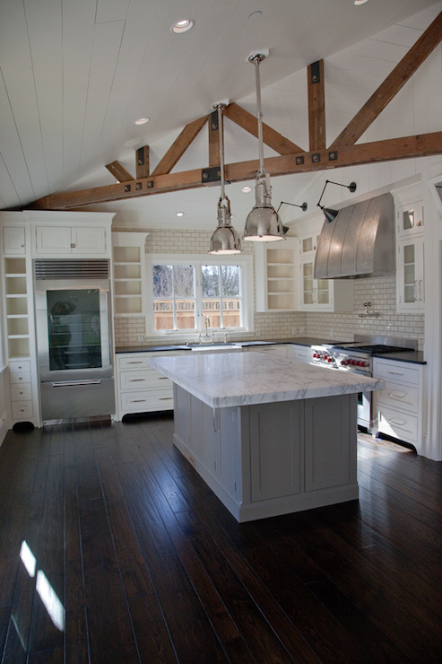 Kitchen Islands With Storage And Seating Exposed Wood Beams - Transitional - Kitchen - Christine