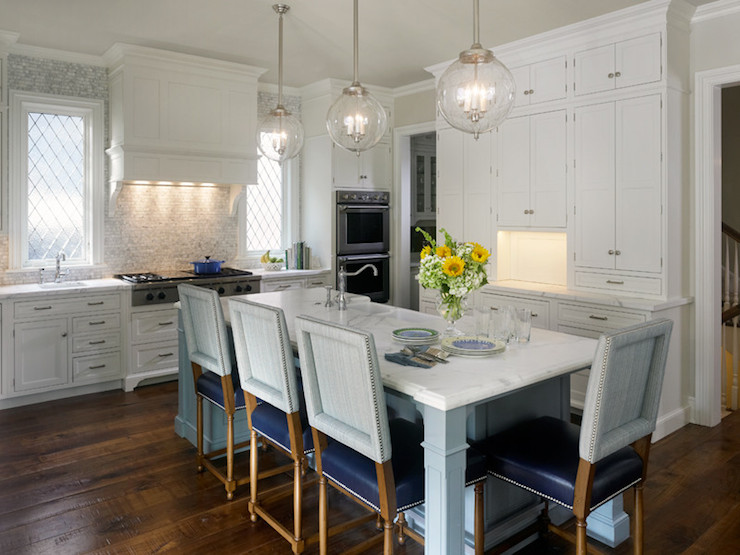 The Black Pearl Wallpaper Kitchen Island Dining Table Transitional Kitchen