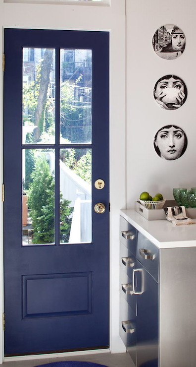 Kitchen Wall Cabinets With Glass Doors Blue Door - Contemporary - Kitchen - Josephine Design