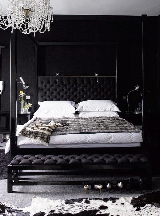 Black bedroom contemporary bedroom