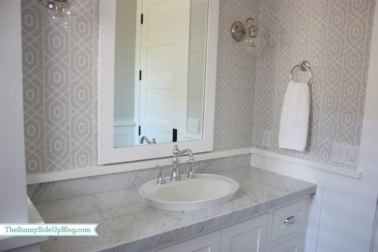 Pin Up Girl Wallpaper Bathroom Gray Geometric Wallpaper Transitional Bathroom Sunny