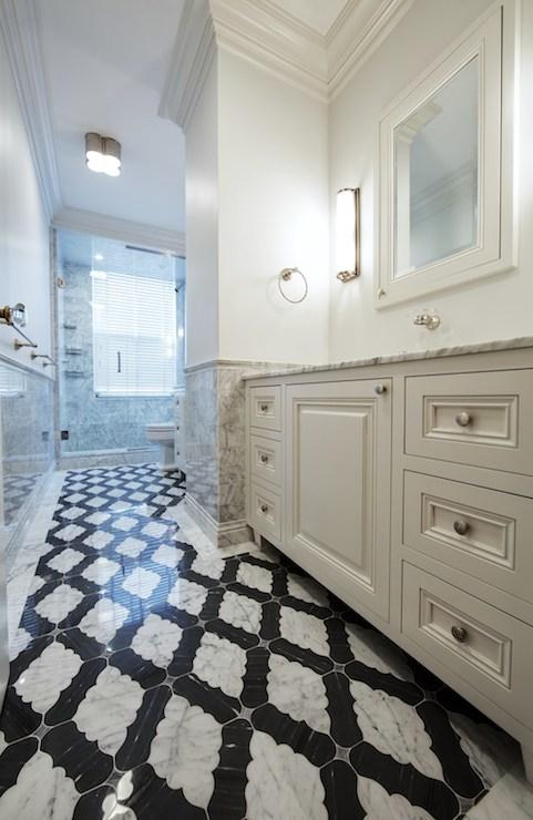 Black And White Marble Wallpaper Moorish Tile Floor Contemporary Bathroom The