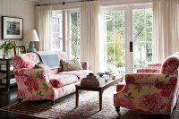 Pink and Green Room - French - living room