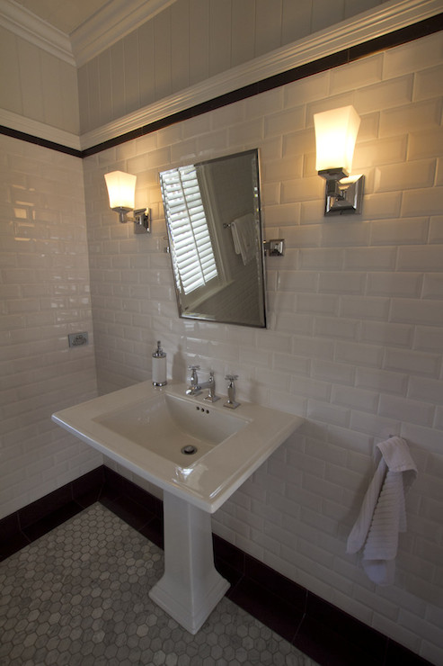 Mirror Lighting Bathroom Beveled Subway Tiles - Transitional - Bathroom