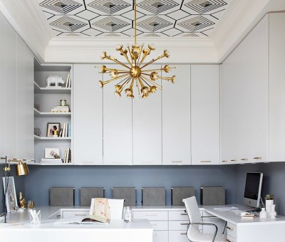 Tray Ceiling Wallpaper - Contemporary - den/library/office - Terris Lightfoot