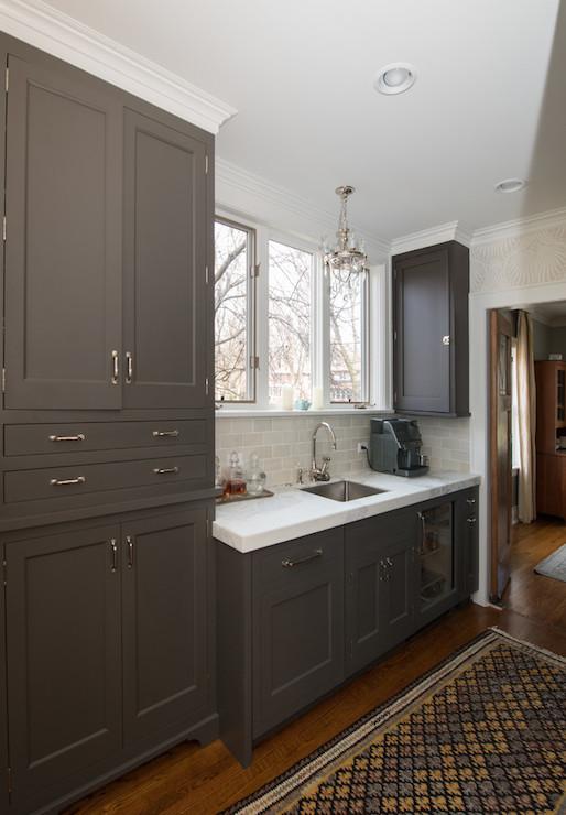 The Girl Next Door Wallpaper Dark Taupe Cabinets Transitional Kitchen Kitchen Lab