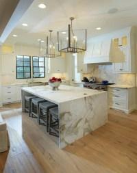Marble Waterfall Island - Transitional - kitchen - Lori ...