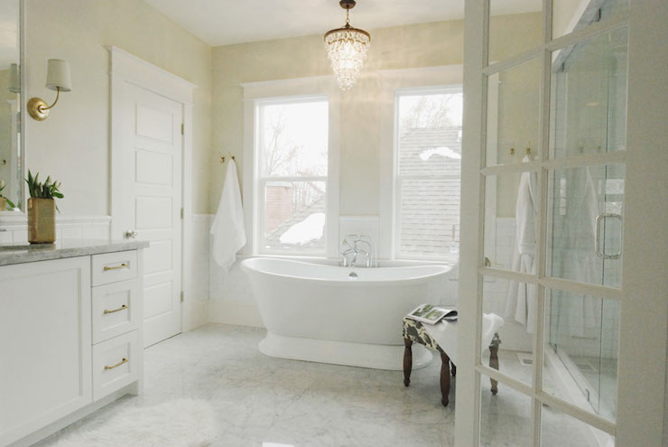 Tiled Shower Stall Designs Overstock Crystal Chandelier - Transitional - Bathroom