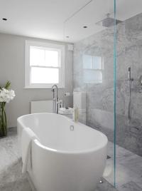 Open Shower Ideas - Modern - bathroom - Laura Hammett