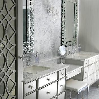 Black Trellis Wallpaper Bathroom Bench Transitional Bathroom Timothy Whealon