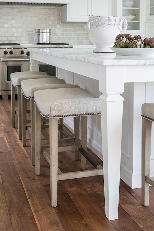 Kitchen Island Overhang For Stools Nailhead Barstools - Transitional - Kitchen - Benjamin
