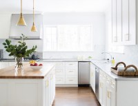 White Kitchen Cabinets with Brass Hardware - Contemporary ...