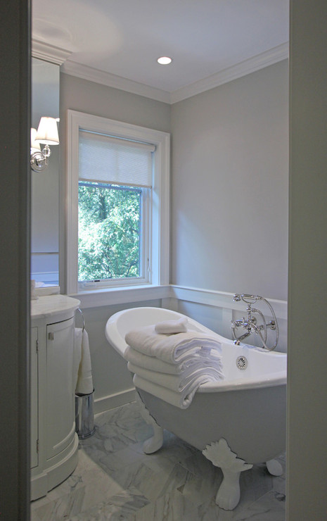 Wall Mounted Storage Gray Claw Foot Tub - Transitional - Bathroom - Farrow And